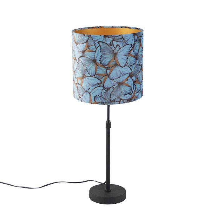 Lampada Da Tavolo Nera Paralume Velluto Farfalle Oro 25 Cm Parte Lampadaeluce