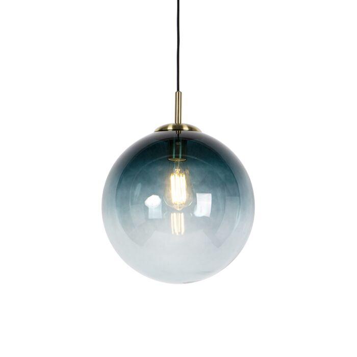 Lampada-a-sospensione-Art-Déco-in-ottone-cristallo-blu-oceano-33-cm---PALLON