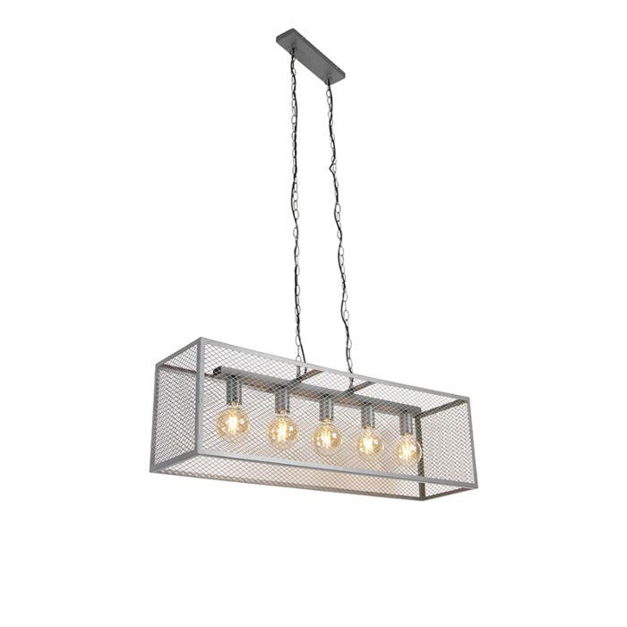 Lampada-a-sospensione-industriale-argento-invecchiato-a-5-luci---CAGE-Robusto