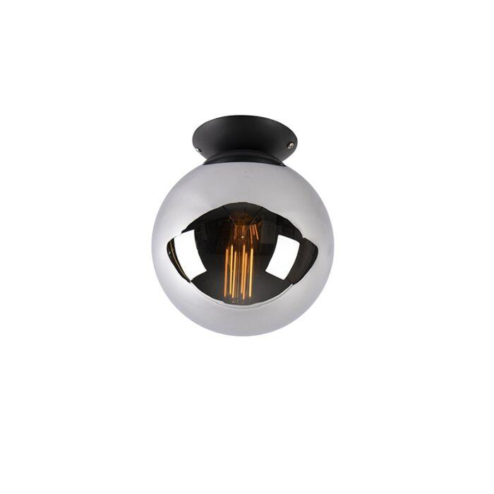 Plafoniera-art-deco-nera-con-vetro-fumé---PALLON