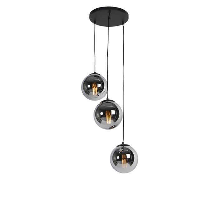 Lampada-a-sospensione-Art-Déco-nera-vetro-fumé-3-luci---PALLON-