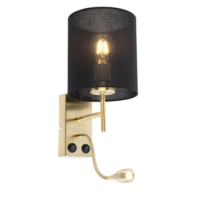 Lampada-da-parete-Art-Déco-color-oro-con-paralume-in-cotone-nero---Stacca