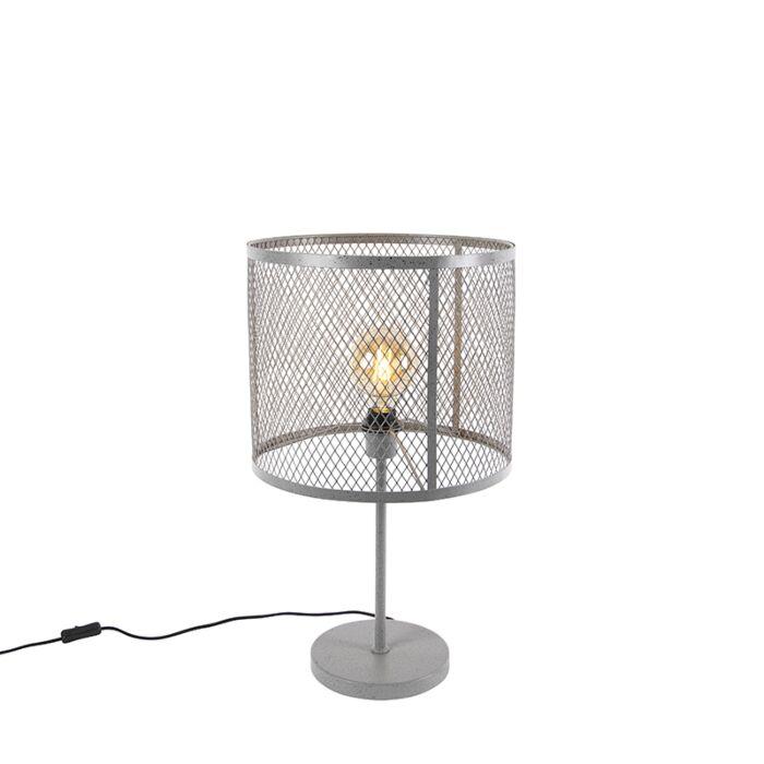 Lampada-da-tavolo-industriale-rotonda-in-argento-antico---CAGE-Robusto