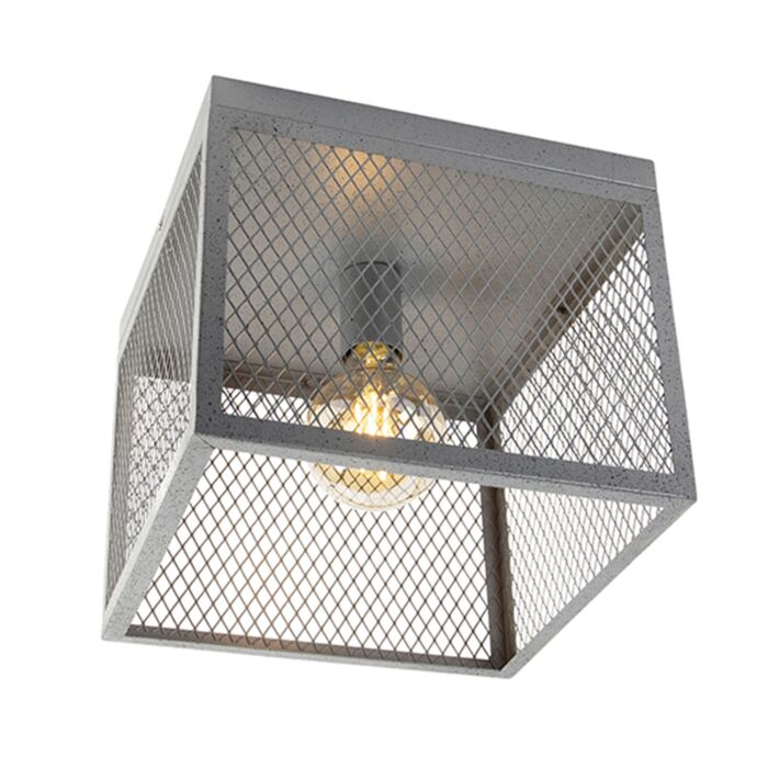 Lampada-da-soffitto-industriale-argento-antico---CAGE-Robusto