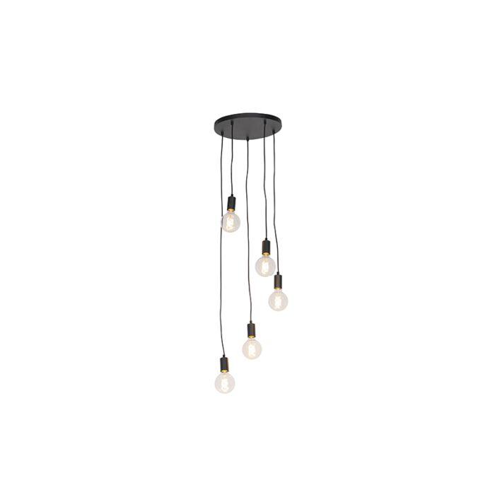 Lampada-a-sospensione-nera-35-cm-5-luci---FACIL