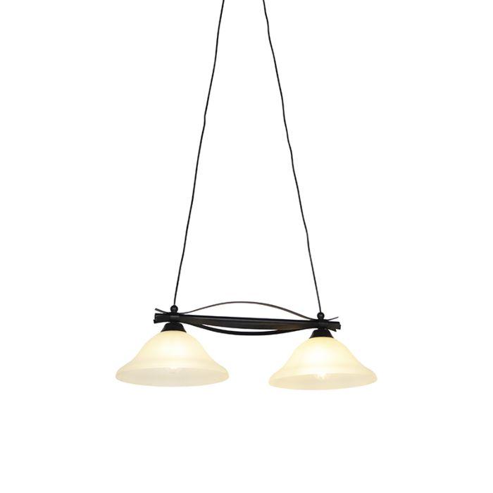 Lampada-a-sospensione-classica-marrone-vetro-beige-2-luci---PIRATA