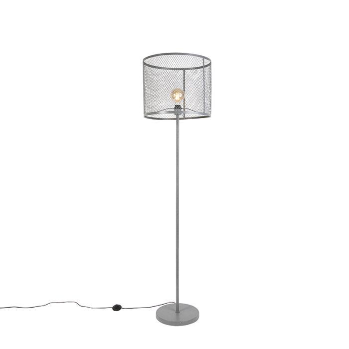Lampada-da-terra-rotonda-industriale-argento-antico---CAGE-Robusto