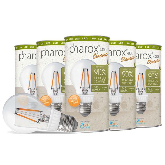 Set-di-5-lampadine-E27-LED-PHAROX-Classic-4W-440LM