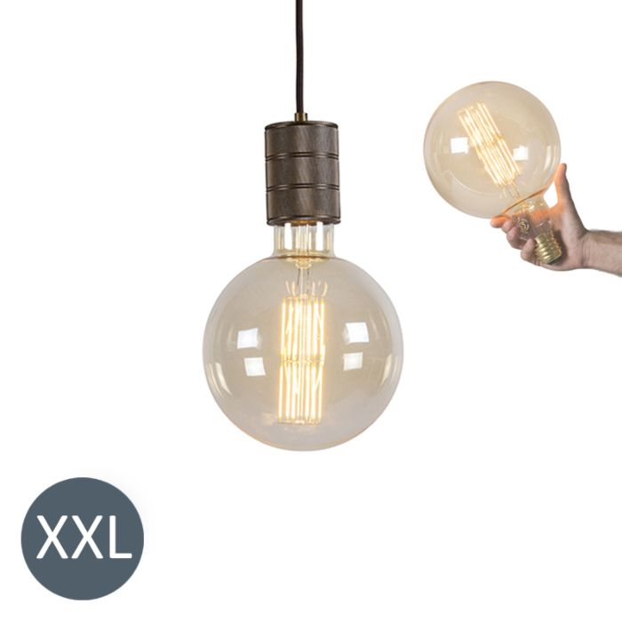 Lampada-a-sospensione-MEGAGLOBE-bronzo-con-lampadina-LED-regolabile