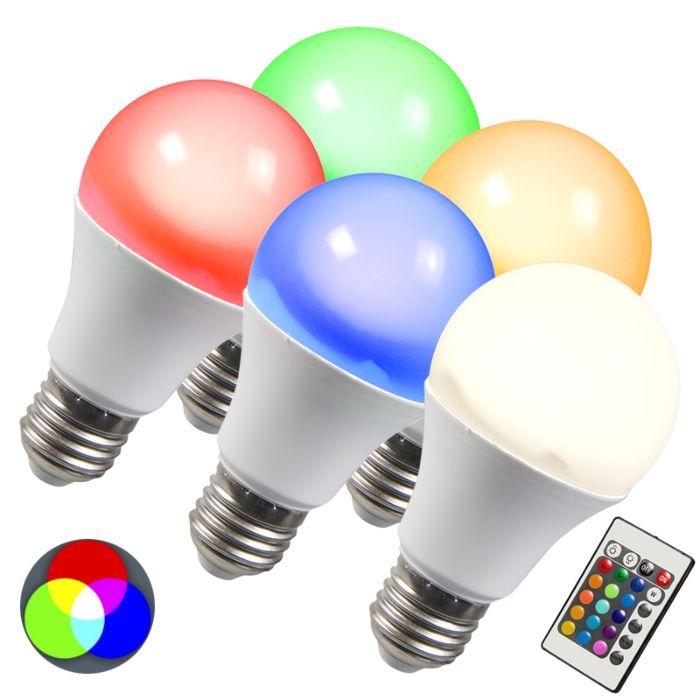 Set-di-5-lampadine-E27-LED-RGB-10W-bianco-caldo