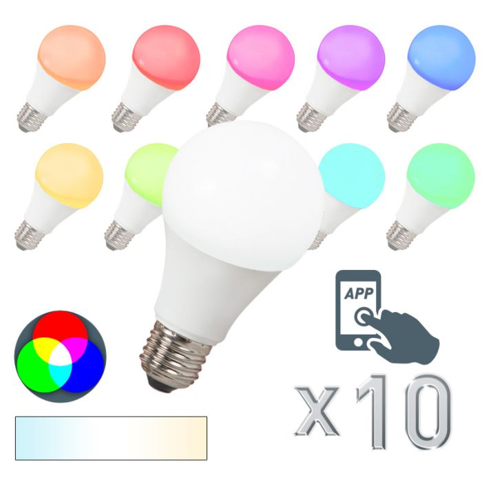 Set-10-lampadine-E27-a-LED-Smart-RGB-A60-7W-500LM