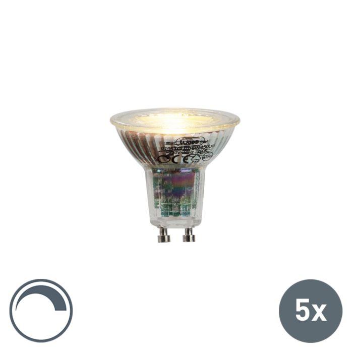 Set-di-5-lampade-a-LED-GU10-6W-450lumen-2700K-dimmerabili