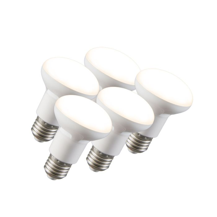 Set-di-5-lampadine-a-LED-con-riflettore-R63-E27-240V-8W-2700K-dimmerabile