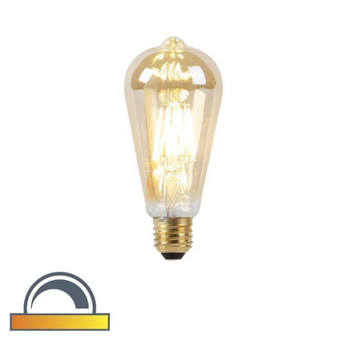 Lampada-a-LED-E27-ST64-8W-2000-2600K-dim-per-riscaldare-il-filamento-goldline