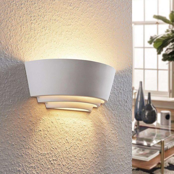 Moderne-wandlamp-wit-gips-incl.-LED---Azriel