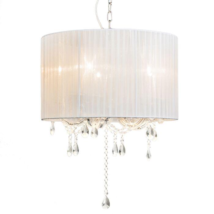 Lampadario-con-paralume-'Marie-Theresa-5-'-classico-blanco/tessuto---adatto-per-LED-/-interno