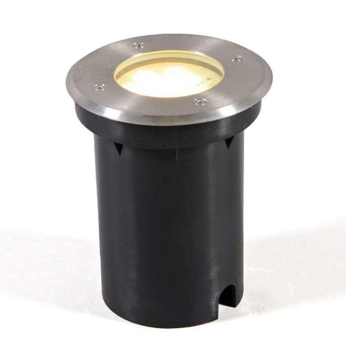 Faretto-da-incasso-da-terra-'Basic-Round'-moderno-acciaio-inossidabile---adatto-per-LED-/-esterno