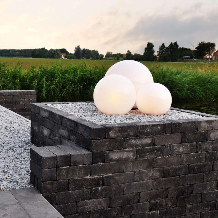 Faretto-con-palo-da-giardino-'Ball-20-Spike'-moderno-blanco/plastica---adatto-per-LED-/-esterno