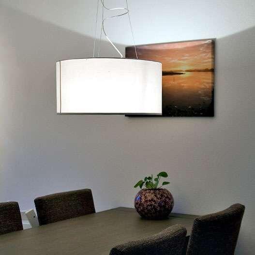 Lampada-a-sospensione-con-paralume-'Drum-60'-moderna-crema/tessuto---adatta-per-LED-/-interna