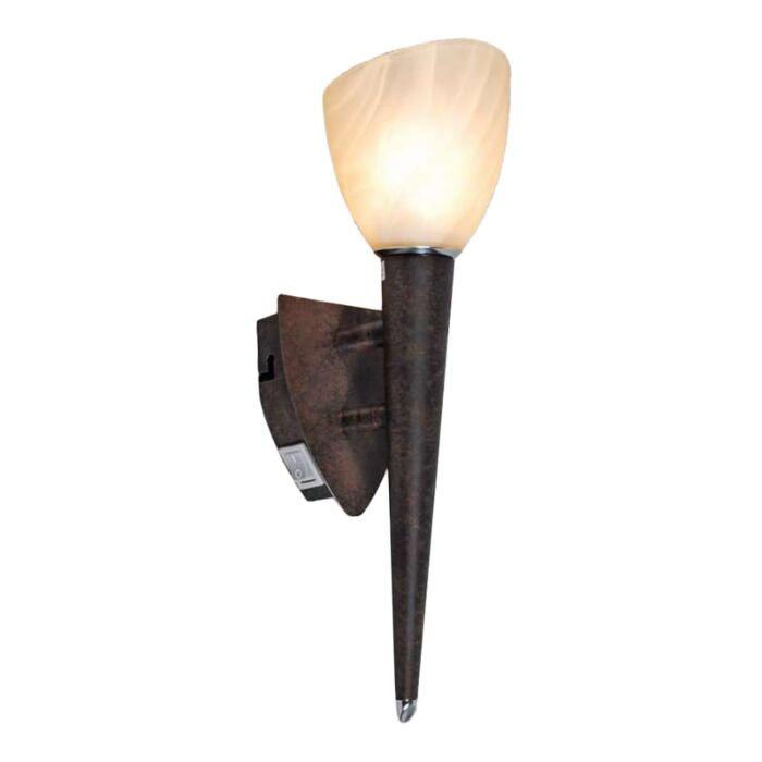 Applique-torcia-'Shield'-rustico-marrone-ossido/metallo---adatto-per-LED-/-interno