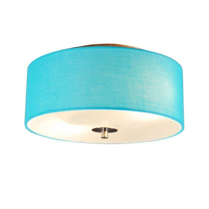 Plafoniera-con-paralume-'Drum-30-R'-moderna-blu/tessuto---adatta-per-LED-/-interna