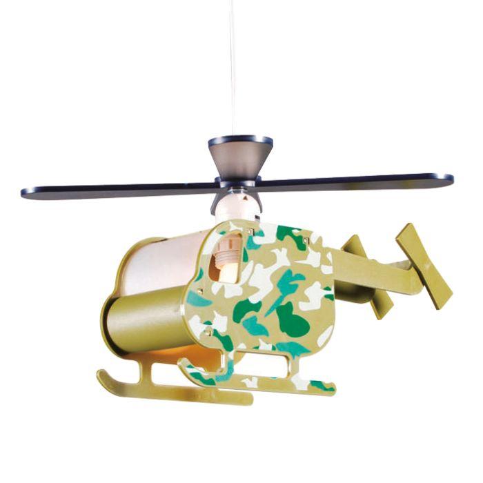 Lampada-a-sospensione-'Chopper'-infantile-verde/plastica---adatta-per-LED-/-interna