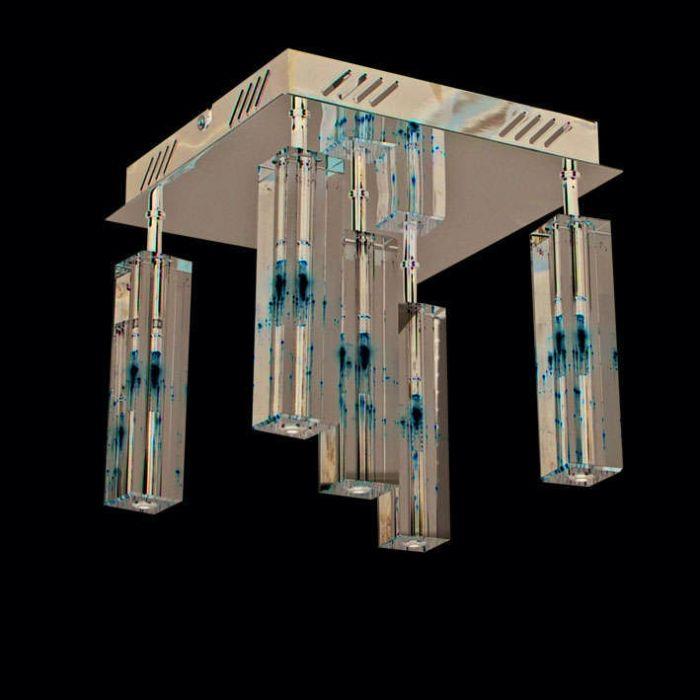 Plafoniera-'Ceres-5'-moderna-trasparente/vetro---adatta-per-LED-/-interna