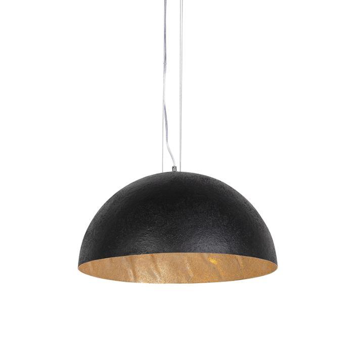 Lampada-a-sospensione-industriale-nera-con-oro-50-cm---Magna