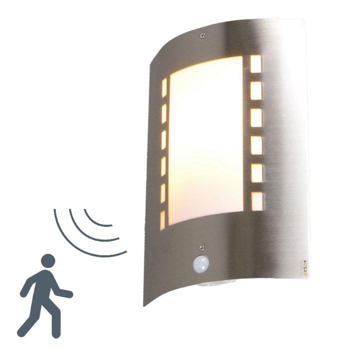 Applique-con-sensore-'Emmerald'-moderno-acciaio---adatto-per-LED-/-esterno