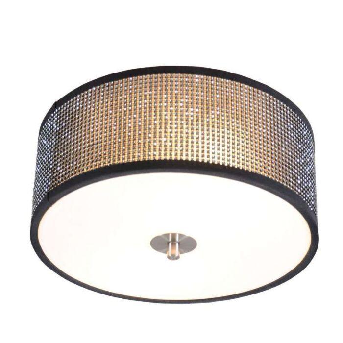 Plafoniera-'Drum-30'-design-nera/cristallo---adatta-per-LED-/-interna