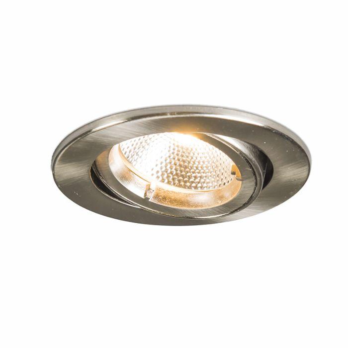 Faretto-da-incasso-'Safe-R-6W'-moderno-acciaio---include-LED-/-interno