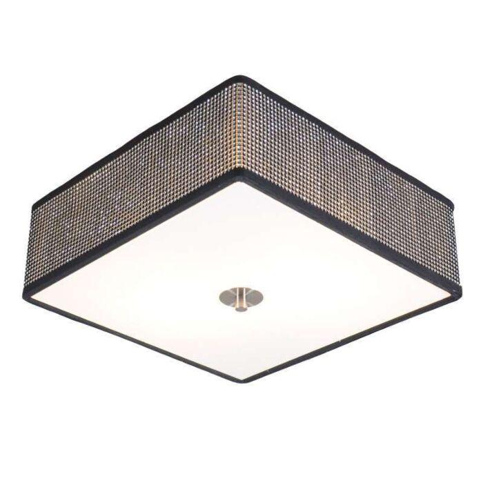 Plafoniera-'Drum-35-Q'-design-nera/cristallo---adatta-per-LED-/-interna