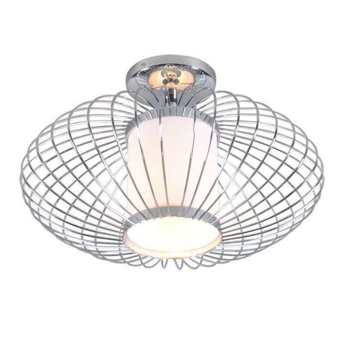 Plafoniera-'Wire-Pumkin-40'-design-cromo---adatta-per-LED-/-interna