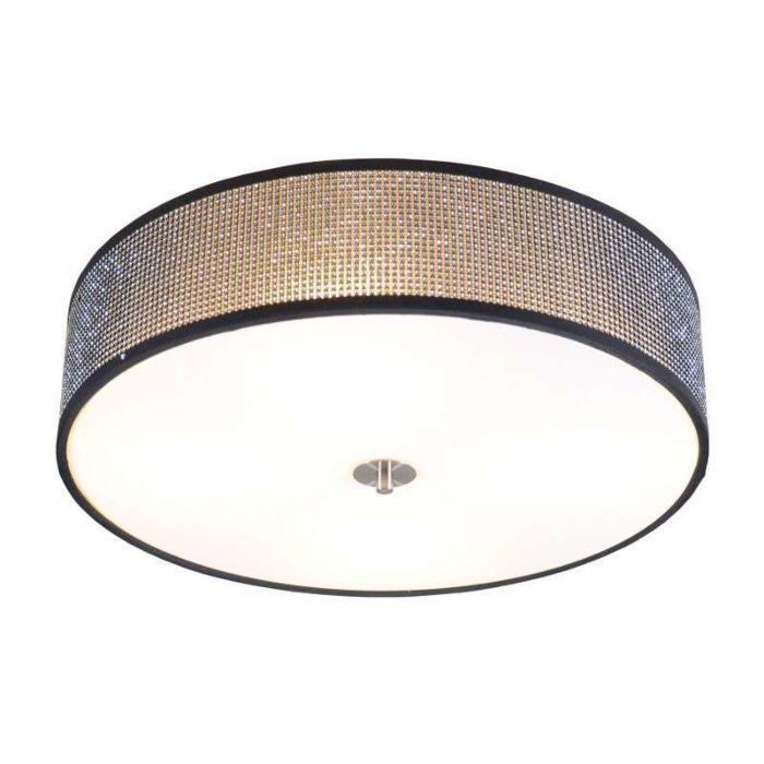 Plafoniera-grande-'Drum-50'-design-nera/cristallo---adatta-per-LED-/-interna