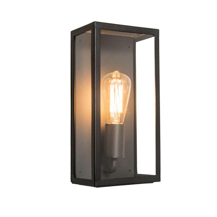 Lampada-da-parete-moderna-rettangolare-per-esterno-nera-con-vetro-IP44---Rotterdam
