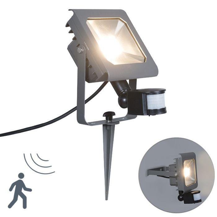 Proiettore-a-LED-RADIUS-2-30W-PIR-grigio-scuro-con-picchetto