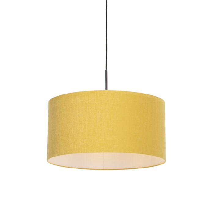 Lampada a sospensione moderna nera con paralume 50 cm giallo Combi 1