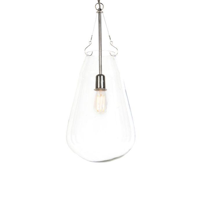 Lampada-a-sospensione-design-vetro-e-nichel---SIKKA
