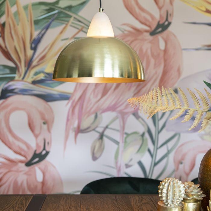 Lampada-a-sospensione-chic-ottone-e-marmo---ALBASTA-BOWL