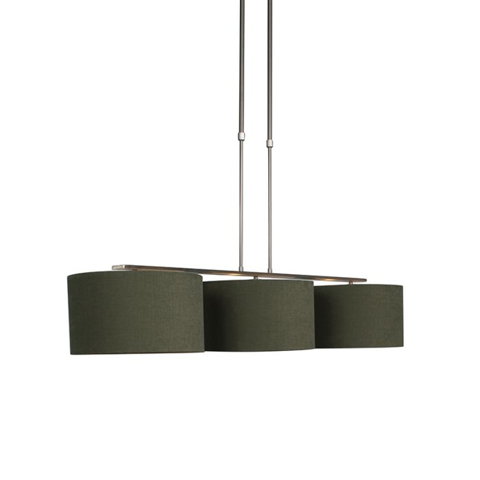 Lampada a sospensione nera con paralume 35 cm verde