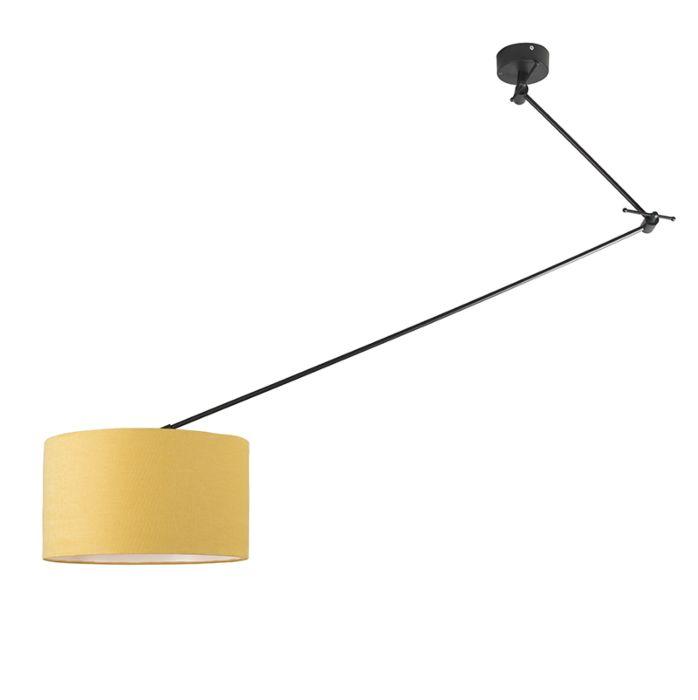 Lampada a sospensione nera con paralume 35 cm giallo regolabile Blitz I
