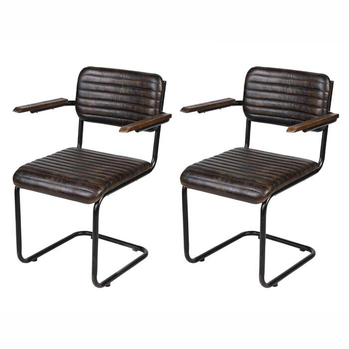 Sedie In Ferro E Legno.Set Di 4 Sedie Gambe In Ferro E Braccioli In Legno Nicosia