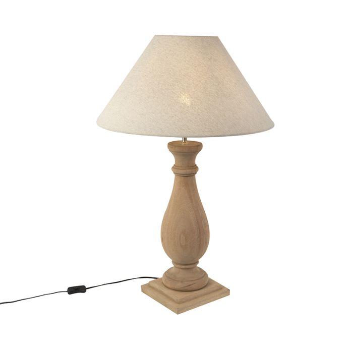 Lampada da tavolo rustico paralume lino grigio taupe 55 BURDOCK