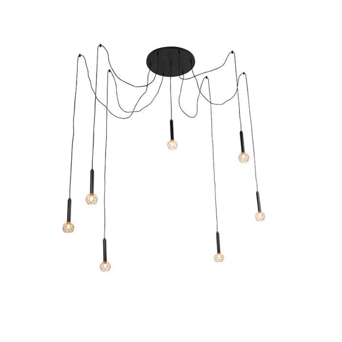 Lampada-a-sospensione-nera-con-7-luci-in-rame---Mesh
