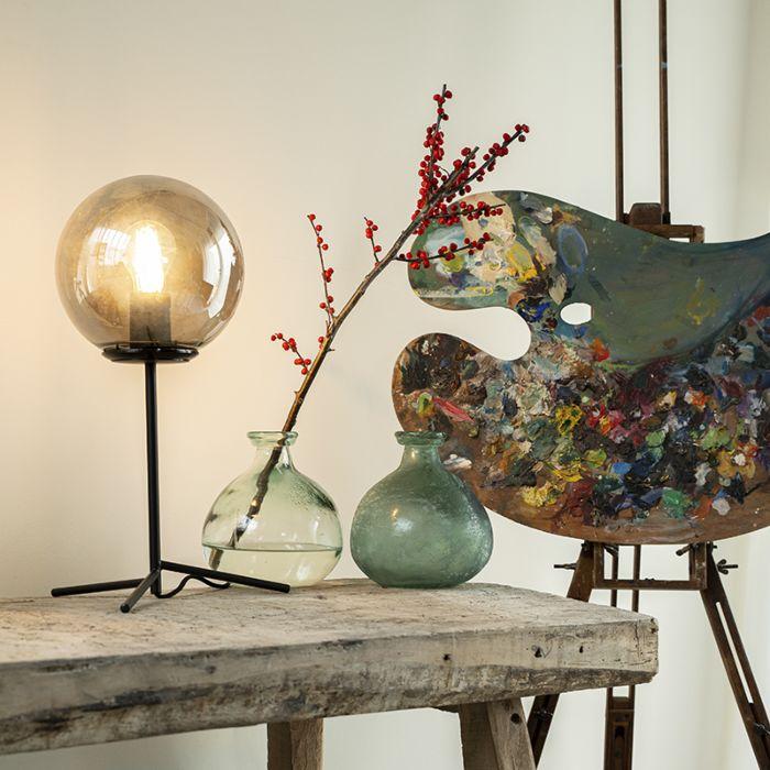 Lampada-da-tavolo-Art-Déco-nera-con-vetro-fumé-45,5-cm---Pallon