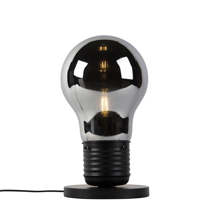 Lampada-da-tavolo-design-nera-con-vetro-fumé---Nigrum