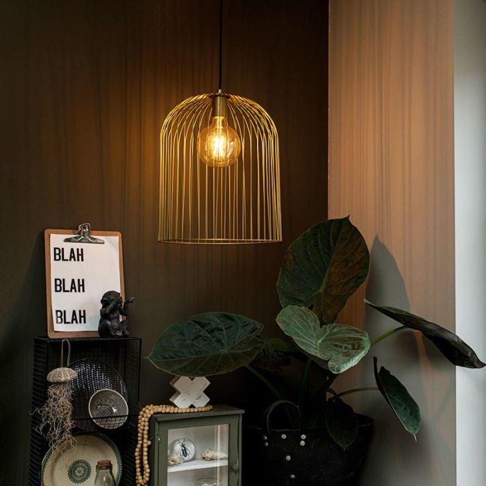 Lampada-a-sospensione-design-oro---Wire-Knock